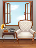 Room with white  armchair and vintage phone Stock Photo