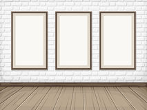 Room with White brick wall, wooden floor and blank frames. Vector eps-10. Royalty Free Stock Image