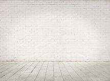 Room with white bricks wall stock photography