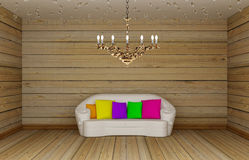 Room with white couch and chandelier Stock Photo