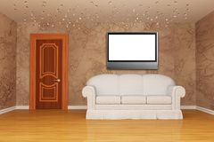 Room with white couch and LCD tv Royalty Free Stock Photography