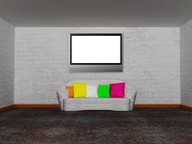 Room with white couch and lcd tv Royalty Free Stock Image