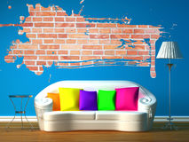 Room with white couchand splash hole Stock Images