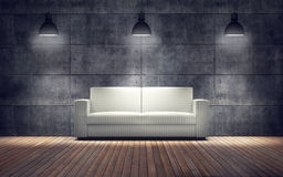 Room with white sofa. wooden floor and concrete wall Stock Photography