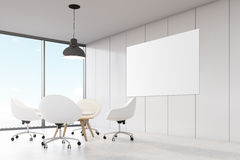 Room with white walls, large panoramic window. Royalty Free Stock Images