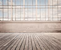 Room with wide window. And wood floor Stock Photography