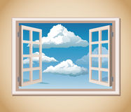 Room window blue sky clouds vector illustration