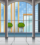 Room with window and city view Royalty Free Stock Photos