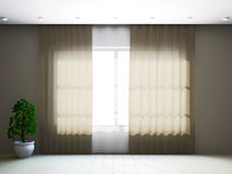 Room window with curtains Stock Photo