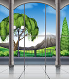 Room with window view of nature Stock Image