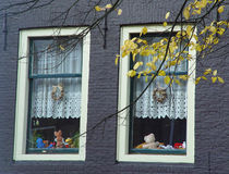 Room  windows. Teenage room windows from a building in Amsterdam Stock Images