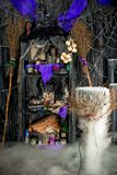 Room of the witch with paraphernalia for witchcraft. And magic Royalty Free Stock Photography