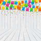Room With Colorful Confetti On Wood Texture Wall Background. Royalty Free Stock Photography