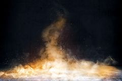 Room With Concrete Floor And Smoke With Fire Sparks Royalty Free Stock Photo