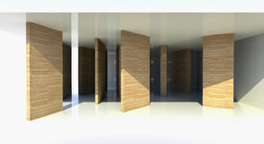 Room with wood partition, abstract architecture. 3d illustration Stock Image