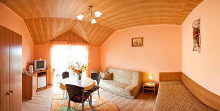 Room with wooden ceiling Royalty Free Stock Image