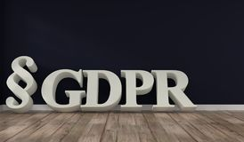 Room with the letters GDPR. Room with wooden floor with the letters GDPR, General Data Protection Regulation, 3d concept rendering Stock Image