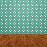 Room with wooden floors and green wallpaper on the walls Royalty Free Stock Photo