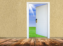 Doorway to meadow Stock Images