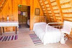 Room in a wooden hut Royalty Free Stock Images