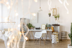 Room with working area. Modernly designed room with working area stock image