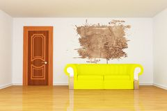 Room with yellow couch and splash hole Stock Image