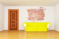 Room with yellow couch and splash hole Royalty Free Stock Photos