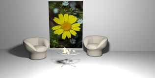 Room with yellow flower Stock Images
