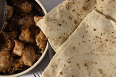 Roomali Roti is a paper-thin flat bread from India. Roomali roti prepared from dough which contains whole wheat Flour (atta) maida (flour) oil and water. It can Stock Image