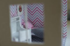 Roombox girl`s room on a smaller scale stock images