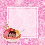 Roomijs, Aardbeien en Achtergrond Stock Afbeeldingen