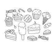 Roomijs, cake, vectorillustratie Stock Afbeelding