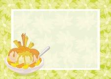 Roomijs, Citrusvrucht, Wafels en Bloemenachtergrond Stock Foto's