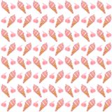 Roomijs en Cherry Seamless Pattern Royalty-vrije Illustratie