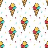 Roomijs en de kleurrijke achtergrond van het confettien naadloze patroon Stock Foto