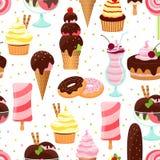 Roomijs en het Naadloze Patroon van Snoepjes Stock Foto's