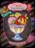 Roomijs en van het dessertsmenu ontwerp stock illustratie