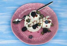 Roomijs met bosbessen, braambessen en banketbakkerij een verfrissend dessert op een plaat stock foto