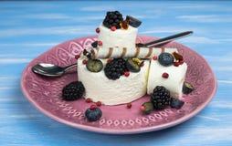 Roomijs met bosbessen, braambessen en banketbakkerij een verfrissend dessert op een plaat royalty-vrije stock foto's