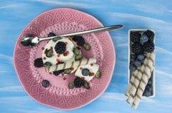 Roomijs met bosbessen, braambessen en banketbakkerij een verfrissend dessert op een plaat stock afbeelding