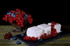 Roomijs met rode aalbesbessen Stock Foto's
