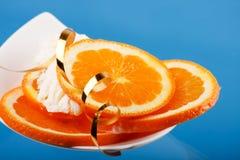Roomijs met sinaasappel Stock Foto