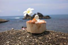 Roomijs op de zomerkokosnoot met orchideebloem Royalty-vrije Stock Afbeeldingen