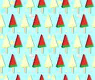 Roomijs van watermeloen en meloen op stok Kleurrijk naadloos patroon op koude blauwe achtergrond met sneeuwvlokken royalty-vrije illustratie