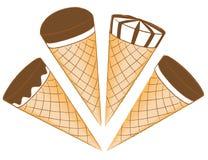 Roomijs in wafelkegels Vector Illustratie