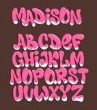 Roomijsdoopvont Koud zoet alfabet dessert het van letters voorzien stock illustratie