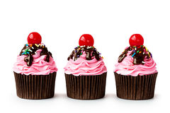 Roomijsijscoupe cupcakes Royalty-vrije Stock Foto's