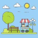 Roomijskar op wielen Zoete bevroren voedselkiosk in openbaar park Vector illustratie vector illustratie