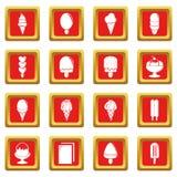 Roomijspictogrammen geplaatst rode vierkante vector Stock Foto