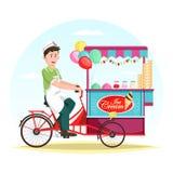 Roomijswagen of karretje met de verkopersmens royalty-vrije illustratie